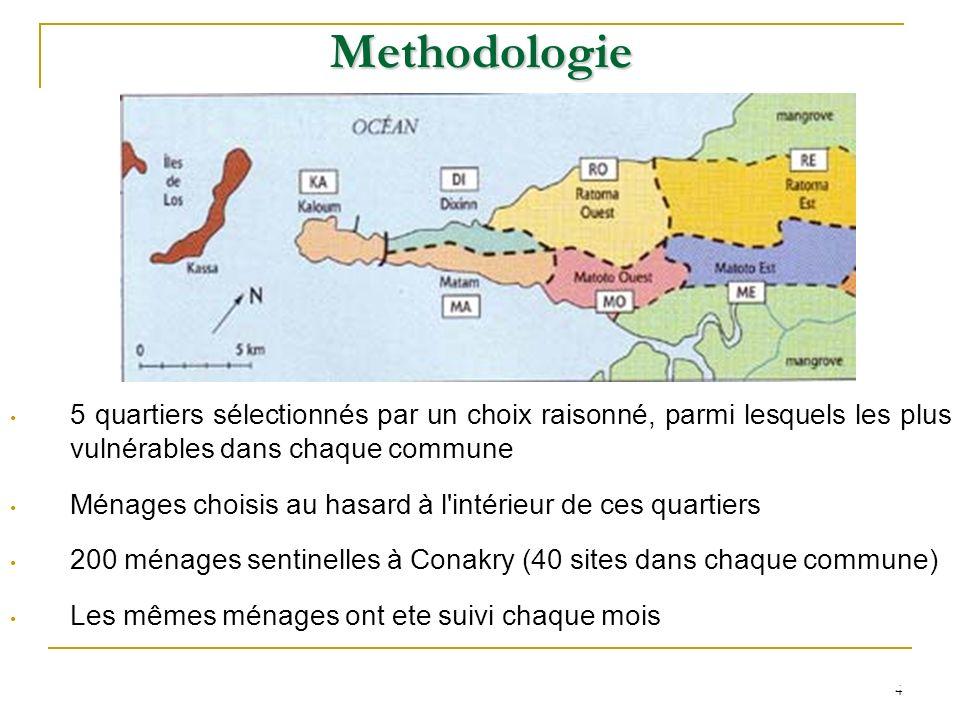 4 Methodologie 5 quartiers sélectionnés par un choix raisonné, parmi lesquels les plus vulnérables dans chaque commune Ménages choisis au hasard à l'i
