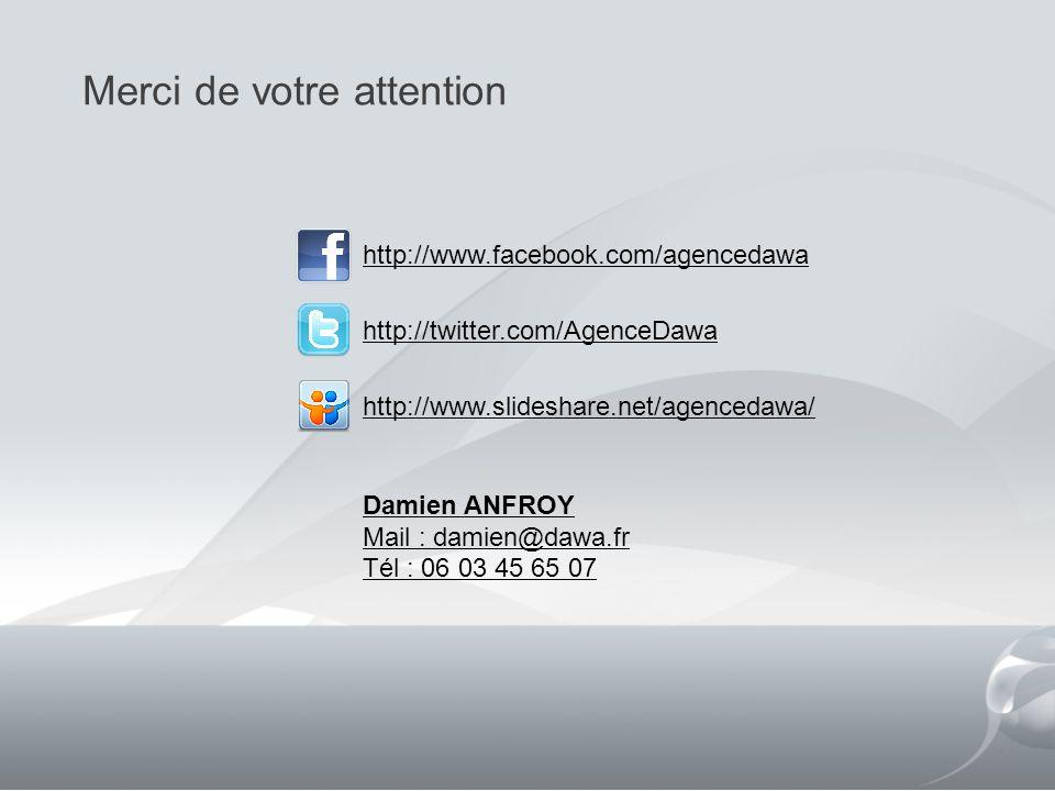Merci de votre attention 17 http://www.facebook.com/agencedawa http://twitter.com/AgenceDawa http://www.slideshare.net/agencedawa/ Damien ANFROY Mail