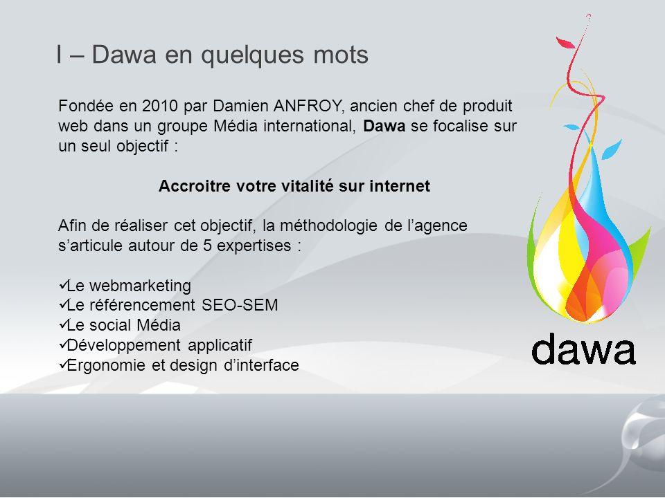 I – Dawa en quelques mots 2 Fondée en 2010 par Damien ANFROY, ancien chef de produit web dans un groupe Média international, Dawa se focalise sur un s