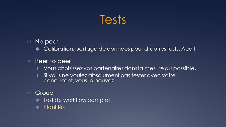 Tests No peer Calibration, partage de données pour dautres tests, Audit Peer to peer Vous choisissez vos partenaires dans la mesure du possible. Si vo