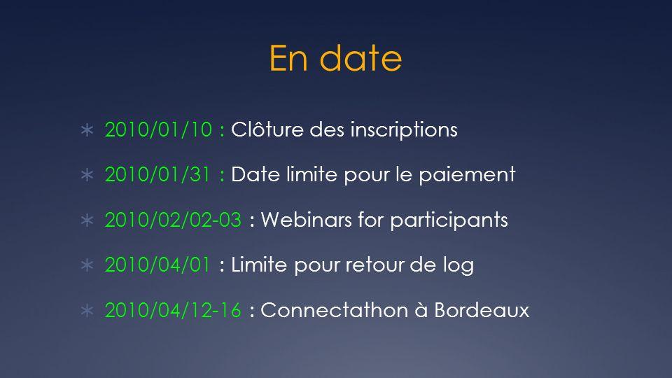 En date 2010/01/10 : Clôture des inscriptions 2010/01/31 : Date limite pour le paiement 2010/02/02-03 : Webinars for participants 2010/04/01 : Limite
