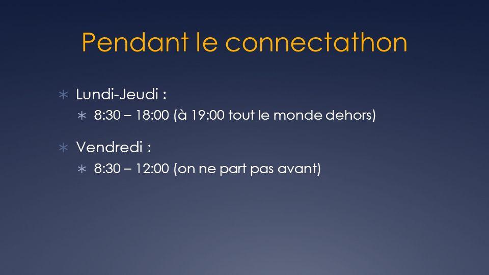 Pendant le connectathon Lundi-Jeudi : 8:30 – 18:00 (à 19:00 tout le monde dehors) Vendredi : 8:30 – 12:00 (on ne part pas avant)