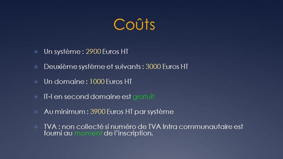 Coûts Un système : 2900 Euros HT Deuxième système et suivants : 3000 Euros HT Un domaine : 1000 Euros HT IT-I en second domaine est gratuit Au minimum