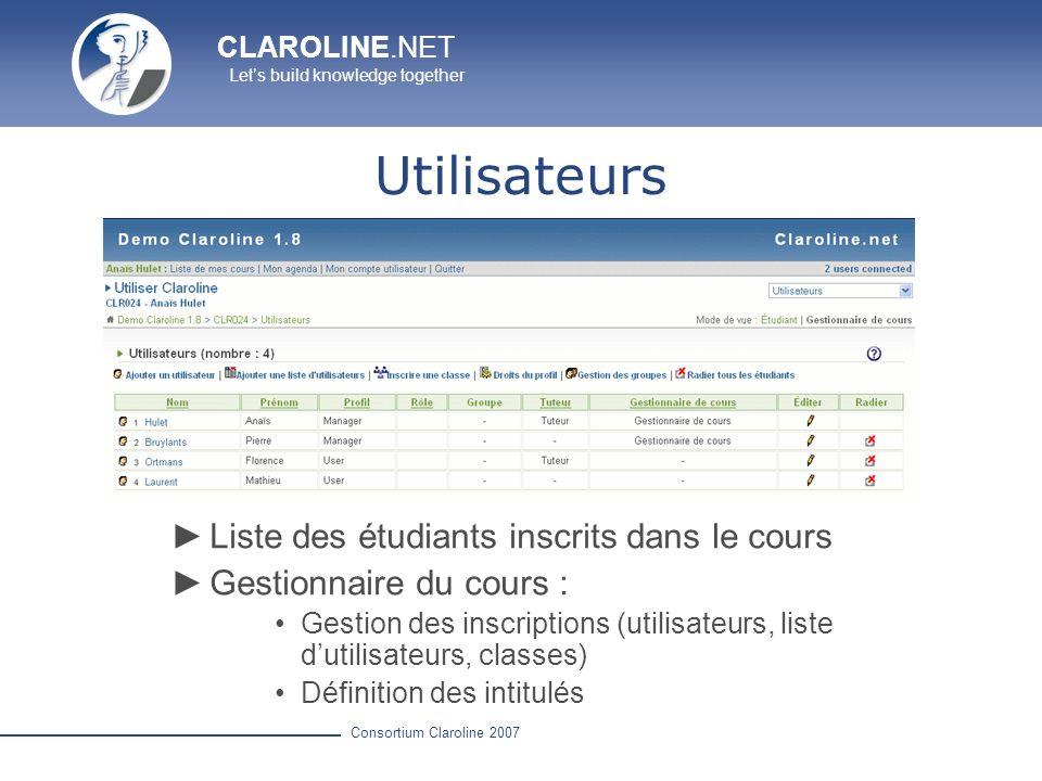 CLAROLINE.NET Lets build knowledge together Consortium Claroline 2007 Utilisateurs Liste des étudiants inscrits dans le cours Gestionnaire du cours :