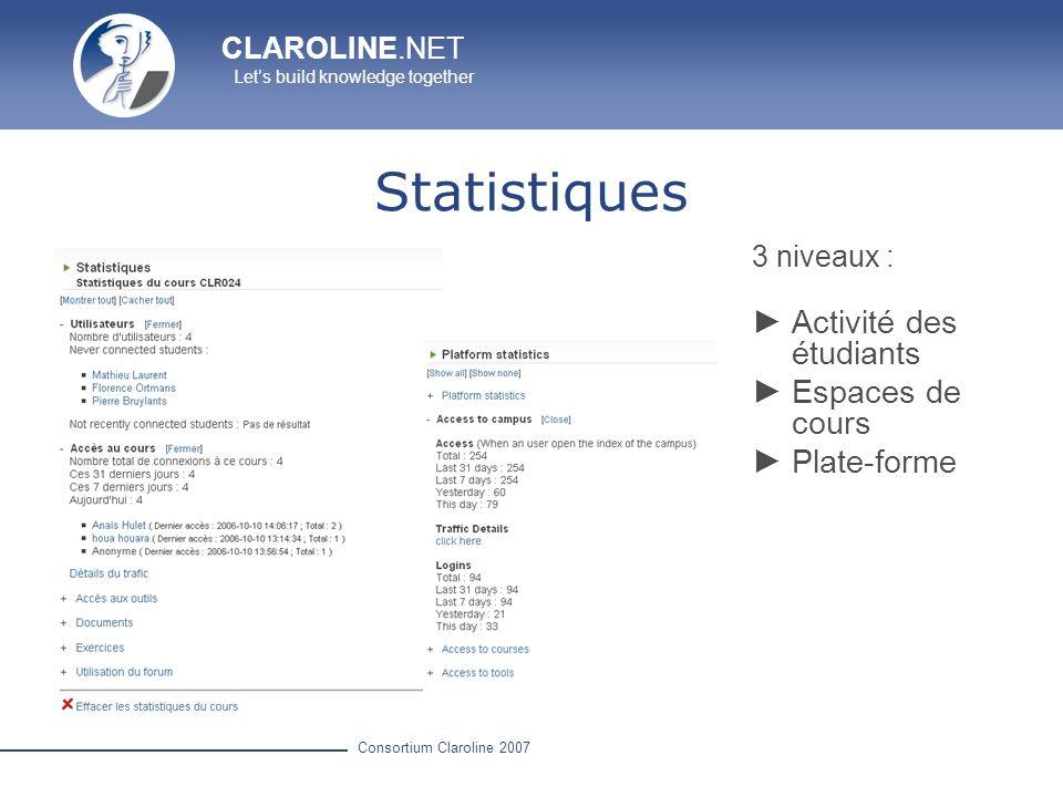 CLAROLINE.NET Lets build knowledge together Consortium Claroline 2007 Statistiques 3 niveaux : Activité des étudiants Espaces de cours Plate-forme