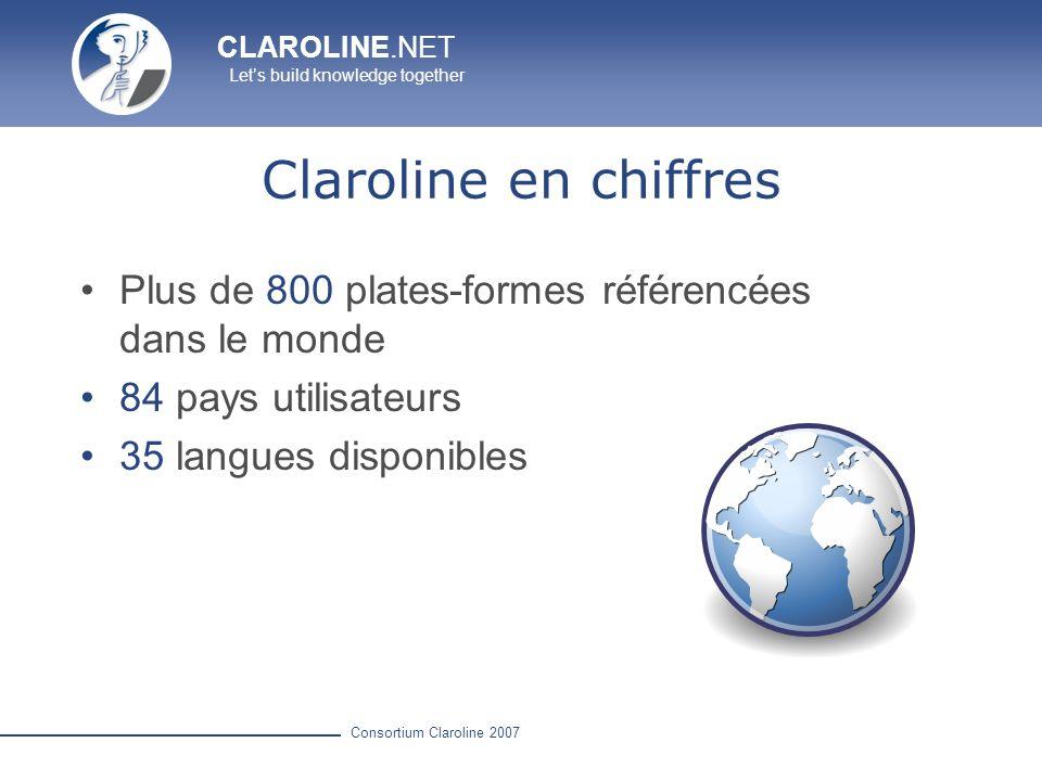 CLAROLINE.NET Lets build knowledge together Consortium Claroline 2007 Claroline en chiffres Plus de 800 plates-formes référencées dans le monde 84 pay