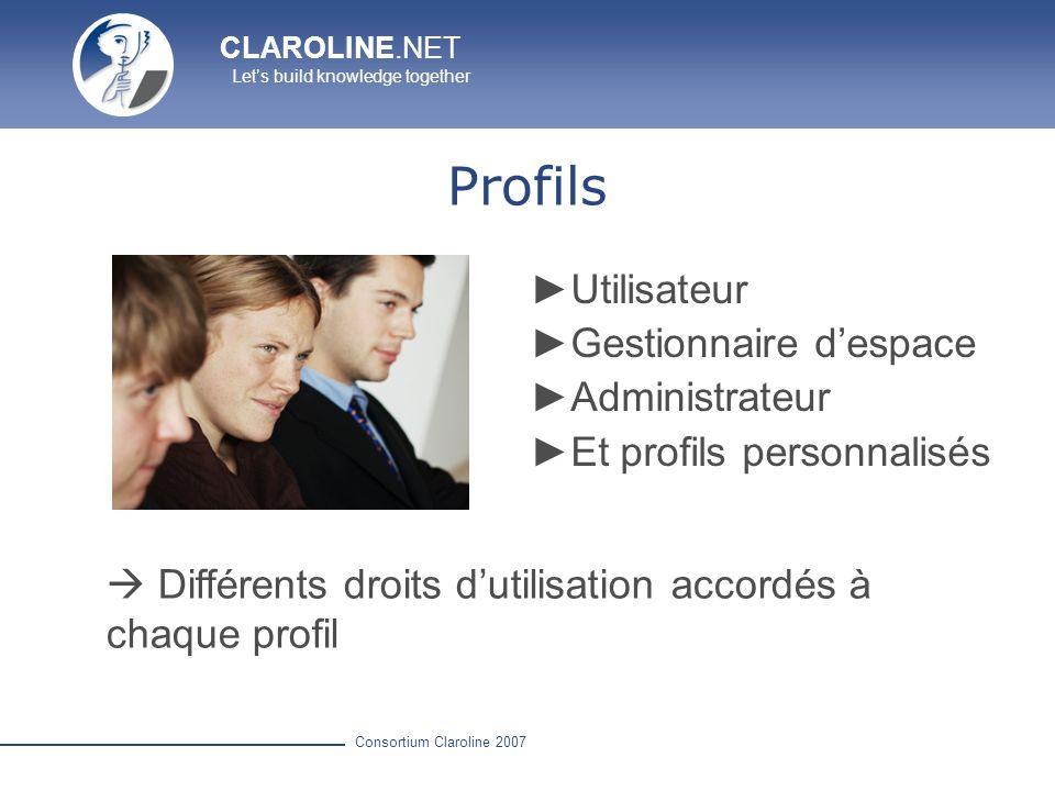 CLAROLINE.NET Lets build knowledge together Consortium Claroline 2007 Profils Utilisateur Gestionnaire despace Administrateur Et profils personnalisés