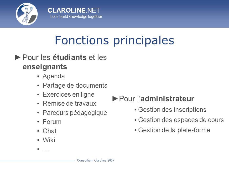 CLAROLINE.NET Lets build knowledge together Consortium Claroline 2007 Page daccueil : plate-forme Catégories de cours Nom dutilisateur et mot de passe Auto-inscription Informations sur la plate-forme