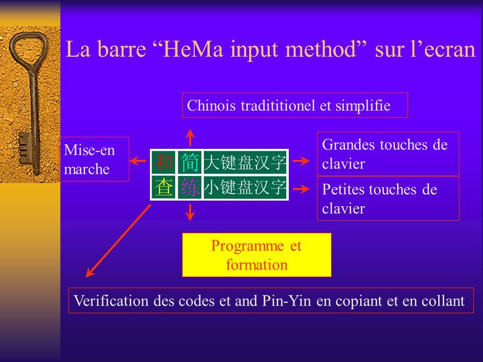 La barre HeMa input method sur lecran Chinois tradititionel et simplifie Programme et formation Mise-en marche Verification des codes et and Pin-Yin e