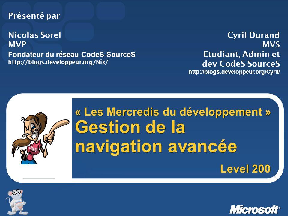 Ressources Tutoriaux sur le menu : http://www.aspfr.com/tutorial.aspx?ID=147 http://www.graphfr.com/code.aspx?id=32090 Une version ajax en.net1 est aussi dispo sur : http://www.aspfr.com/code.aspx?ID=34117
