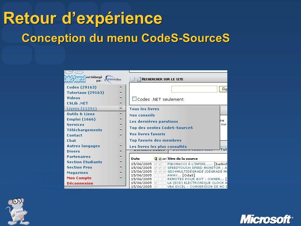 Le menu de CodeS-SourceS devait être Simple dutilisation LEGER !!.