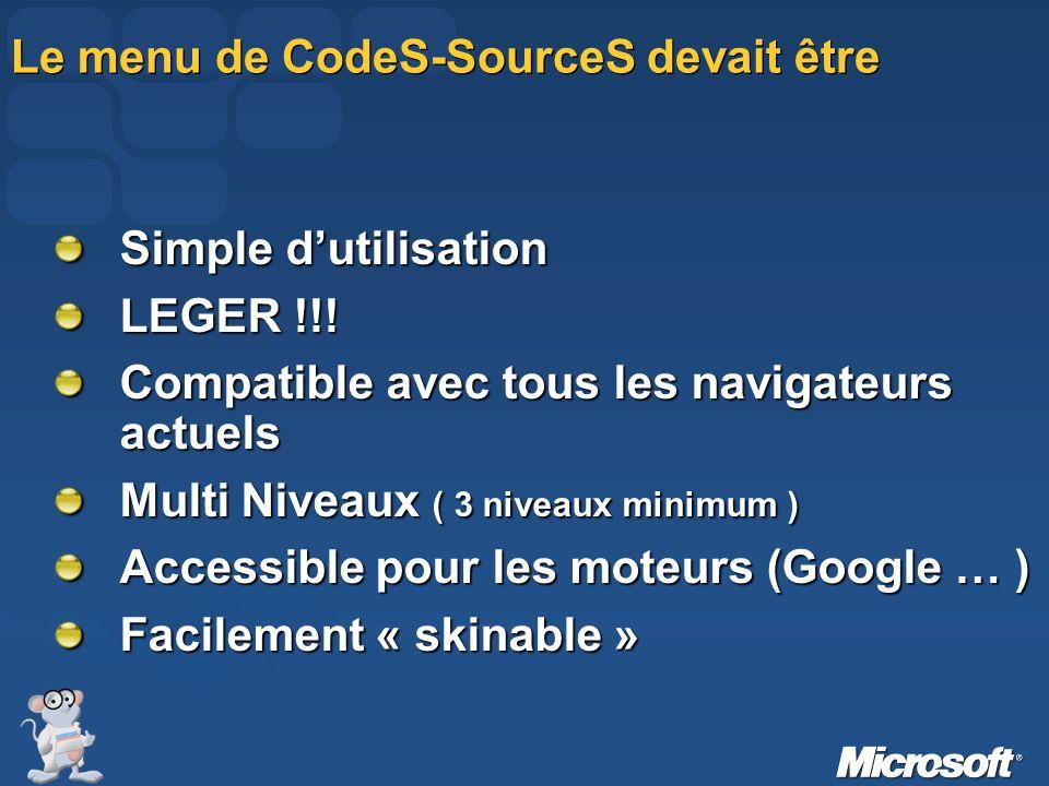 Le menu de CodeS-SourceS devait être Simple dutilisation LEGER !!! Compatible avec tous les navigateurs actuels Multi Niveaux ( 3 niveaux minimum ) Ac