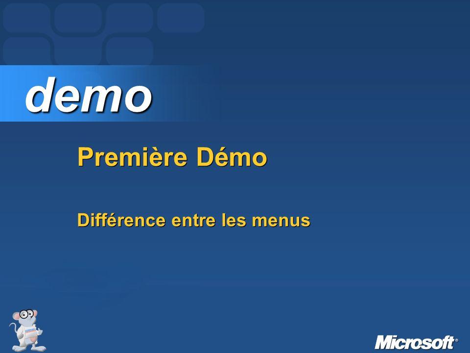 Première Démo demo demo Différence entre les menus