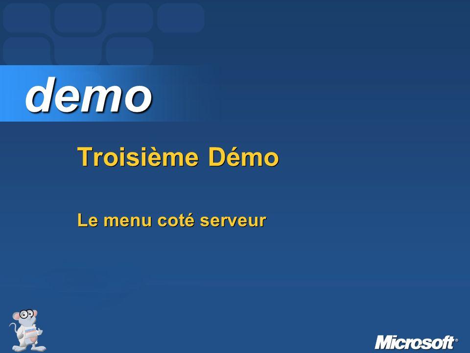 Bilan Le menu fourni dans ASP.NET 2 est pratique et « passe-partout » mais nétait pas adapté aux besoin de CodeS-SourceS.