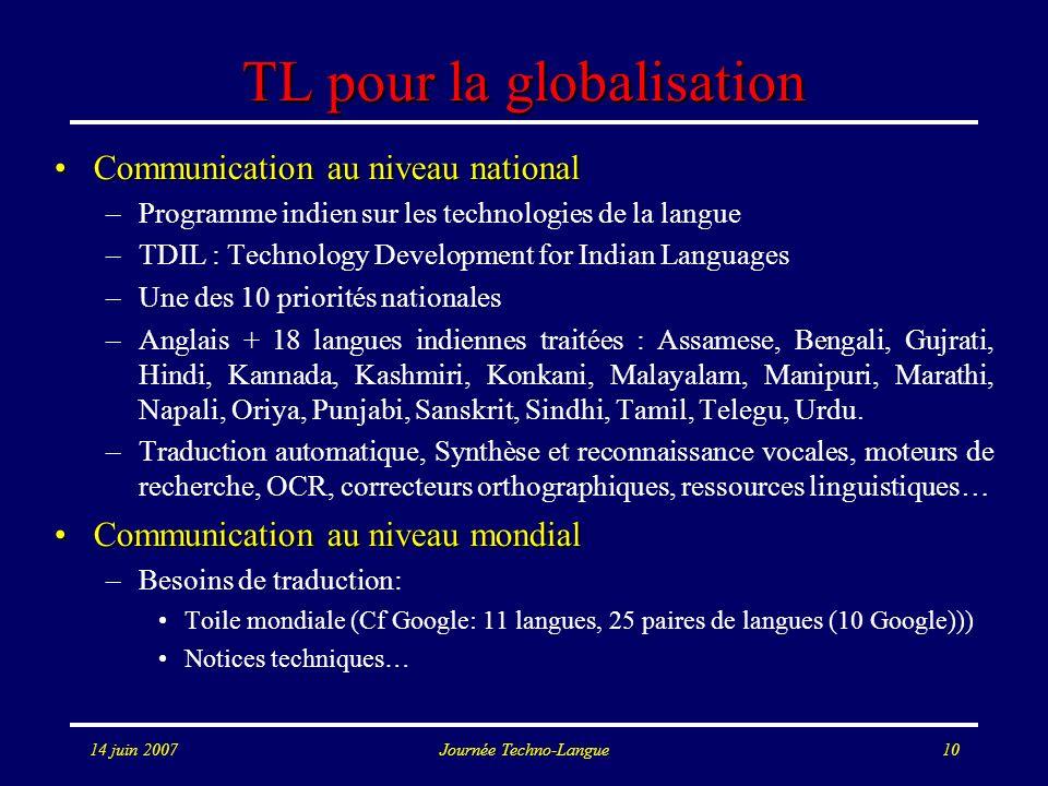 14 juin 2007Journée Techno-Langue10 TL pour la globalisation Communication au niveau nationalCommunication au niveau national –Programme indien sur le