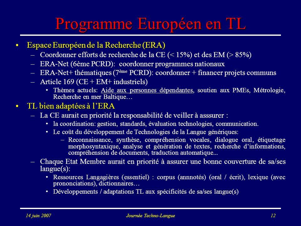 14 juin 2007Journée Techno-Langue12 Programme Européen en TL Espace Européen de la Recherche (ERA)Espace Européen de la Recherche (ERA) –Coordonner ef