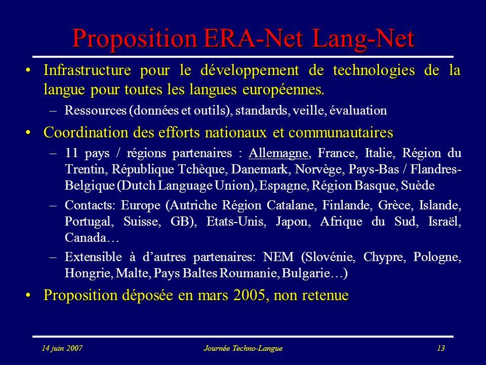 14 juin 2007Journée Techno-Langue13 Proposition ERA-Net Lang-Net Infrastructure pour le développement de technologies de la langue pour toutes les lan