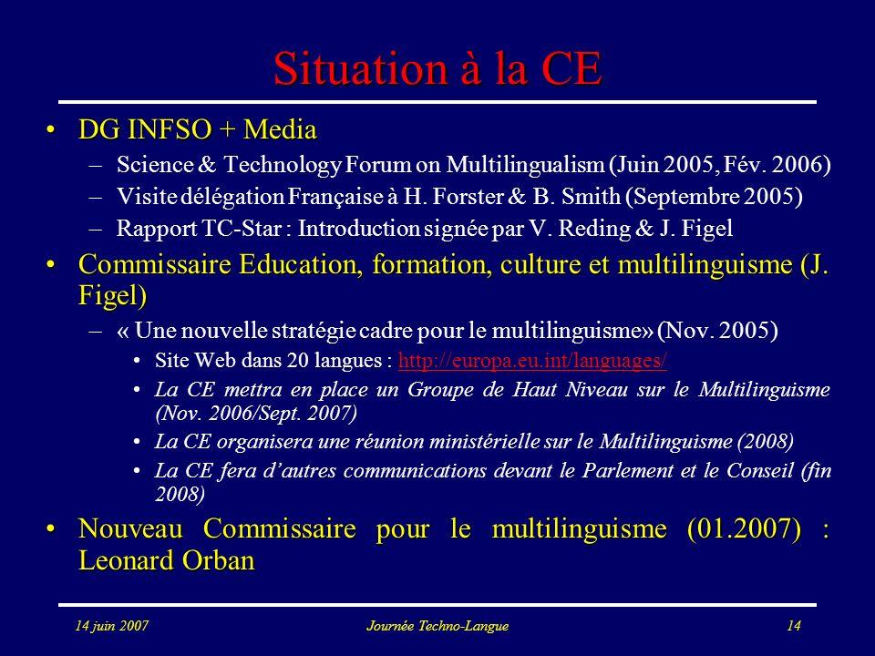 14 juin 2007Journée Techno-Langue14 Situation à la CE DG INFSO + MediaDG INFSO + Media –Science & Technology Forum on Multilingualism (Juin 2005, Fév.