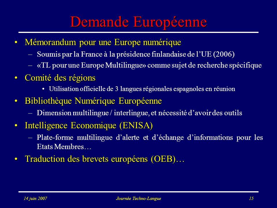 14 juin 2007Journée Techno-Langue15 Demande Européenne Mémorandum pour une Europe numériqueMémorandum pour une Europe numérique –Soumis par la France