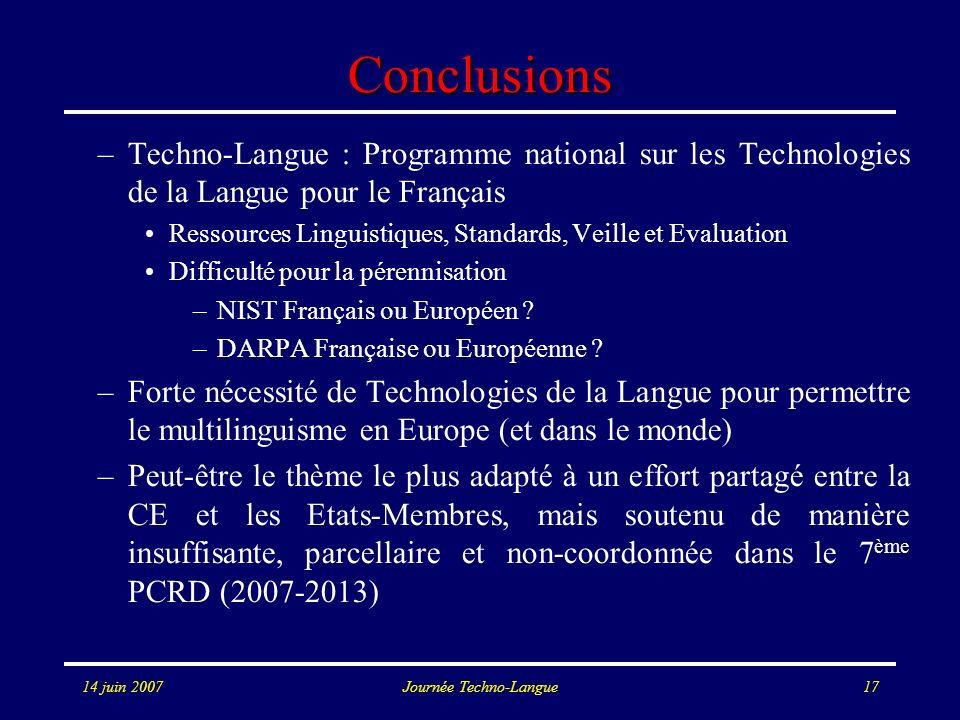 14 juin 2007Journée Techno-Langue17 Conclusions –Techno-Langue : Programme national sur les Technologies de la Langue pour le Français Ressources Ling