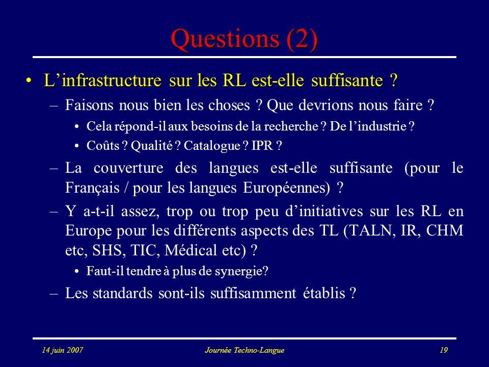 14 juin 2007Journée Techno-Langue19 Questions (2) Linfrastructure sur les RL est-elle suffisante ?Linfrastructure sur les RL est-elle suffisante ? –Fa