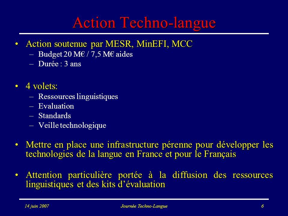 14 juin 2007Journée Techno-Langue6 Action Techno-langue Action soutenue par MESR, MinEFI, MCCAction soutenue par MESR, MinEFI, MCC –Budget 20 M / 7,5