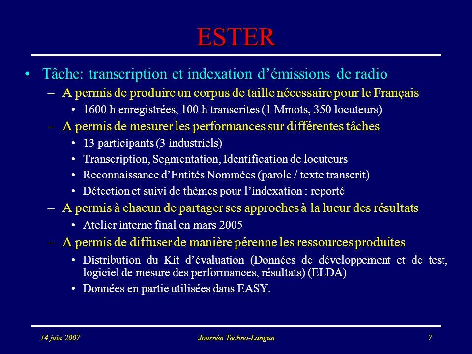 14 juin 2007Journée Techno-Langue7 ESTER Tâche: transcription et indexation démissions de radioTâche: transcription et indexation démissions de radio