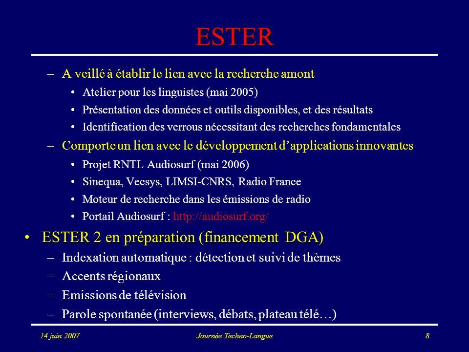 14 juin 2007Journée Techno-Langue8 ESTER –A veillé à établir le lien avec la recherche amont Atelier pour les linguistes (mai 2005) Présentation des d
