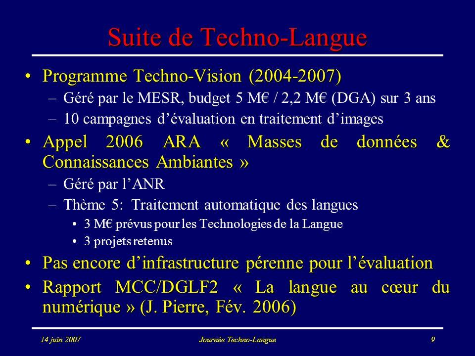 14 juin 2007Journée Techno-Langue9 Suite de Techno-Langue Programme Techno-Vision (2004-2007)Programme Techno-Vision (2004-2007) –Géré par le MESR, bu