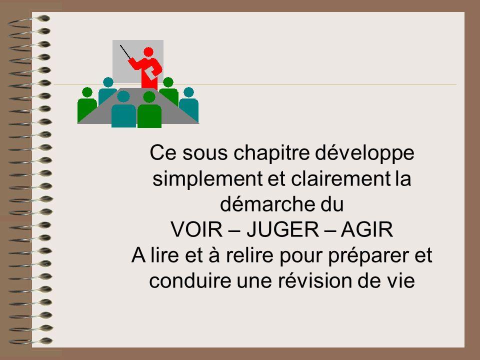 Ce sous chapitre développe simplement et clairement la démarche du VOIR – JUGER – AGIR A lire et à relire pour préparer et conduire une révision de vi