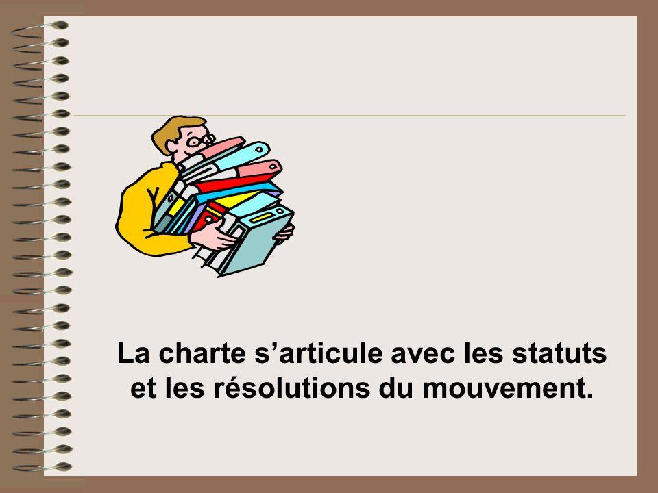 La charte sarticule avec les statuts et les résolutions du mouvement.