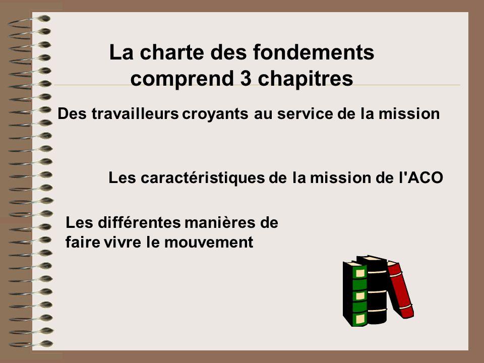 Les différentes manières de faire vivre le mouvement La charte des fondements comprend 3 chapitres Des travailleurs croyants au service de la mission
