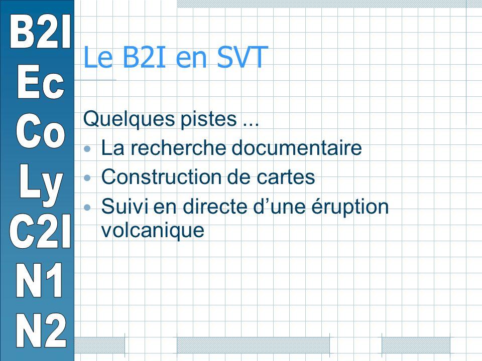 Le B2I en SVT Quelques pistes...