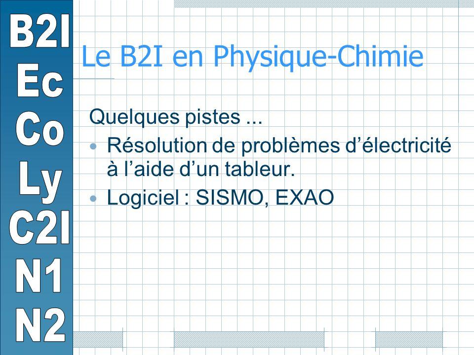 Le B2I en Physique-Chimie Quelques pistes...