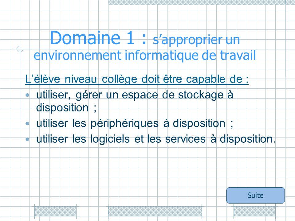 Domaine 1 : sapproprier un environnement informatique de travail Lélève niveau collège doit être capable de : utiliser, gérer un espace de stockage à disposition ; utiliser les périphériques à disposition ; utiliser les logiciels et les services à disposition.