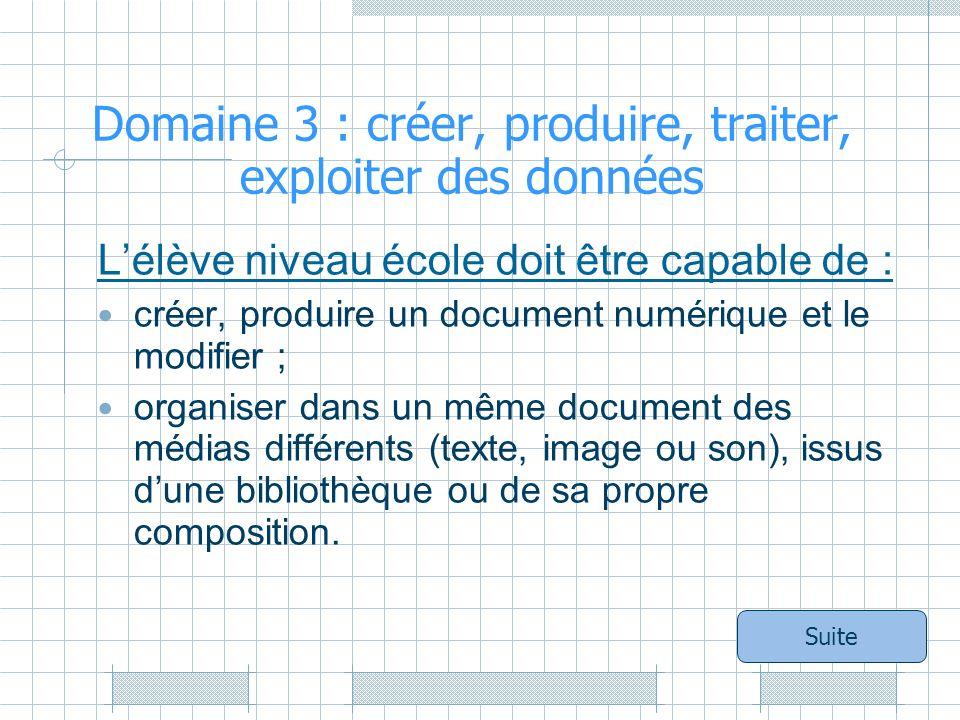 Domaine 3 : créer, produire, traiter, exploiter des données Lélève niveau école doit être capable de : créer, produire un document numérique et le modifier ; organiser dans un même document des médias différents (texte, image ou son), issus dune bibliothèque ou de sa propre composition.