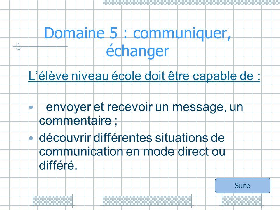 Domaine 5 : communiquer, échanger Lélève niveau école doit être capable de : envoyer et recevoir un message, un commentaire ; découvrir différentes situations de communication en mode direct ou différé.