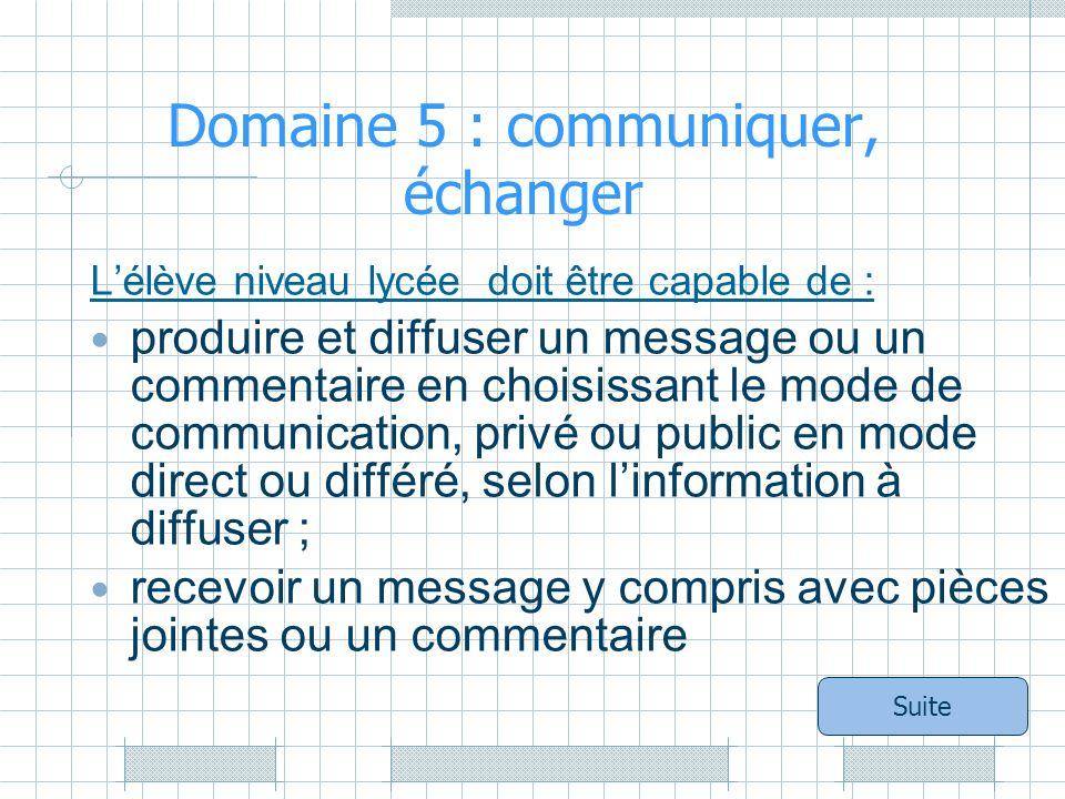 Domaine 5 : communiquer, échanger Lélève niveau lycée doit être capable de : produire et diffuser un message ou un commentaire en choisissant le mode de communication, privé ou public en mode direct ou différé, selon linformation à diffuser ; recevoir un message y compris avec pièces jointes ou un commentaire Suite