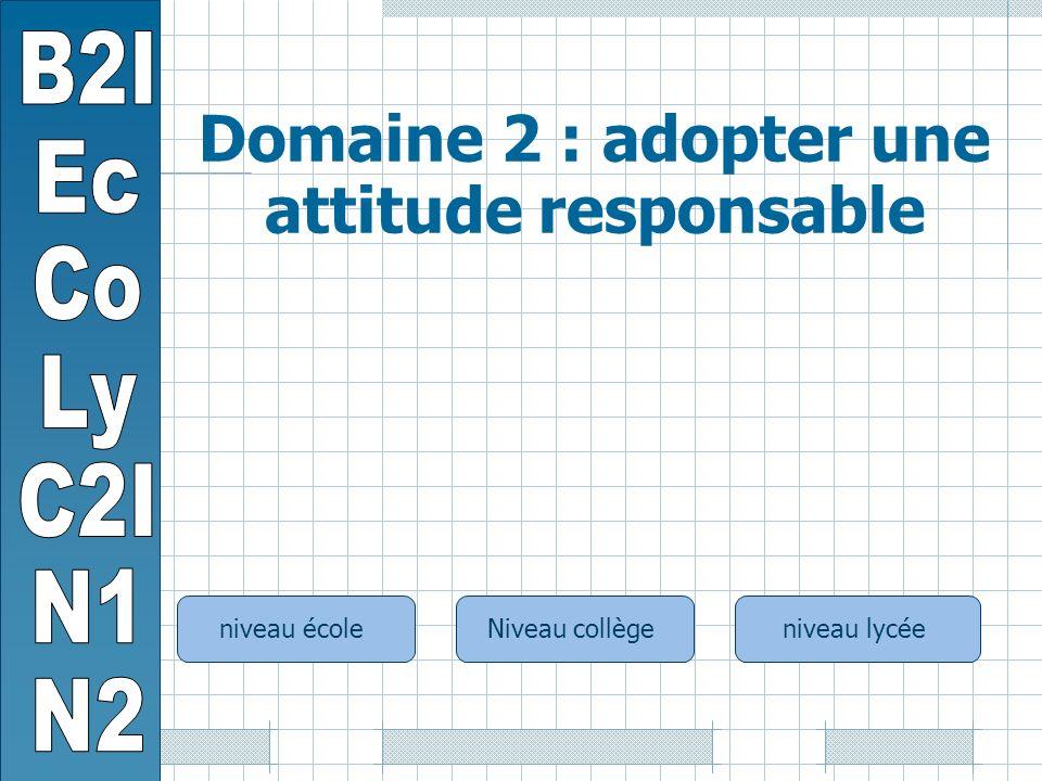 niveau écoleNiveau collègeniveau lycée Domaine 2 : adopter une attitude responsable