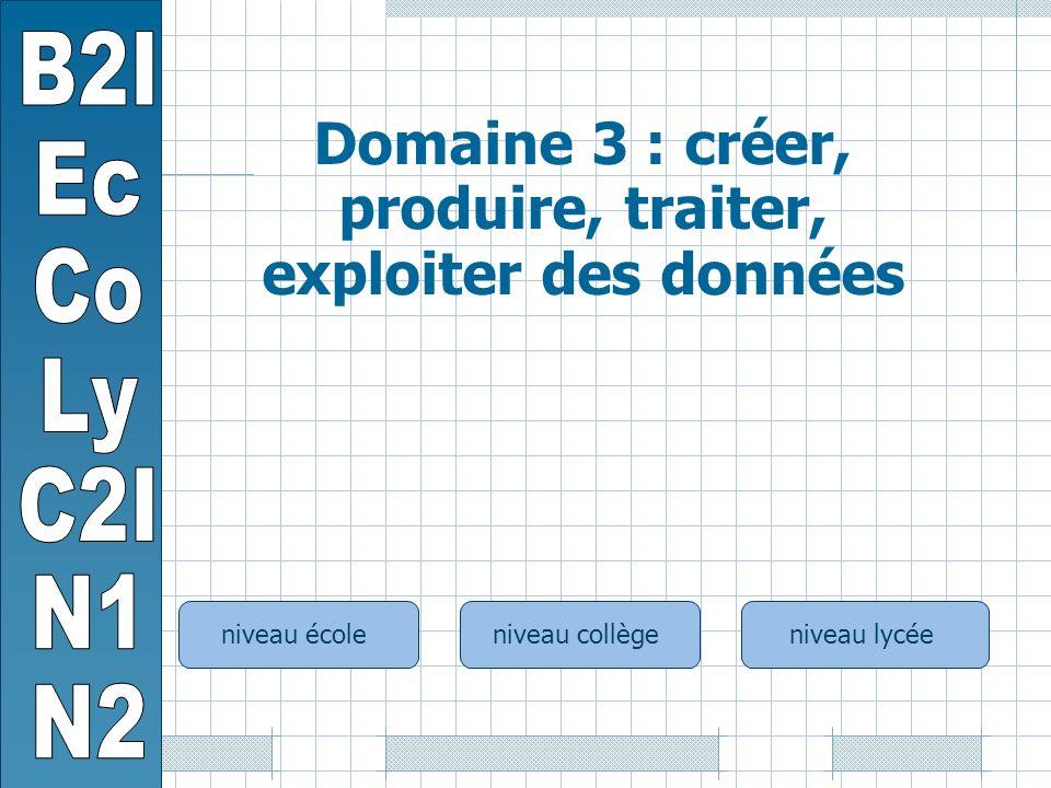 niveau écoleniveau collègeniveau lycée Domaine 3 : créer, produire, traiter, exploiter des données