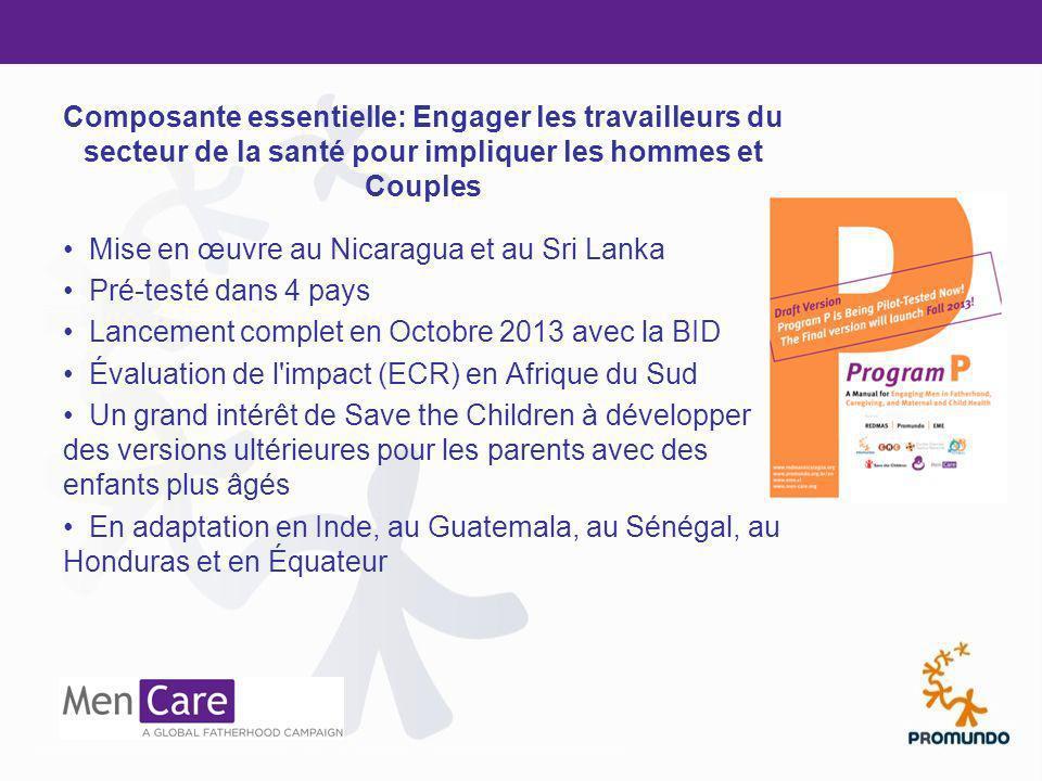 Composante essentielle: Engager les travailleurs du secteur de la santé pour impliquer les hommes et Couples Mise en œuvre au Nicaragua et au Sri Lank