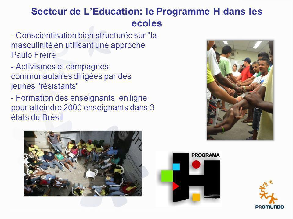 Secteur de LEducation: le Programme H dans les ecoles - Conscientisation bien structurée sur