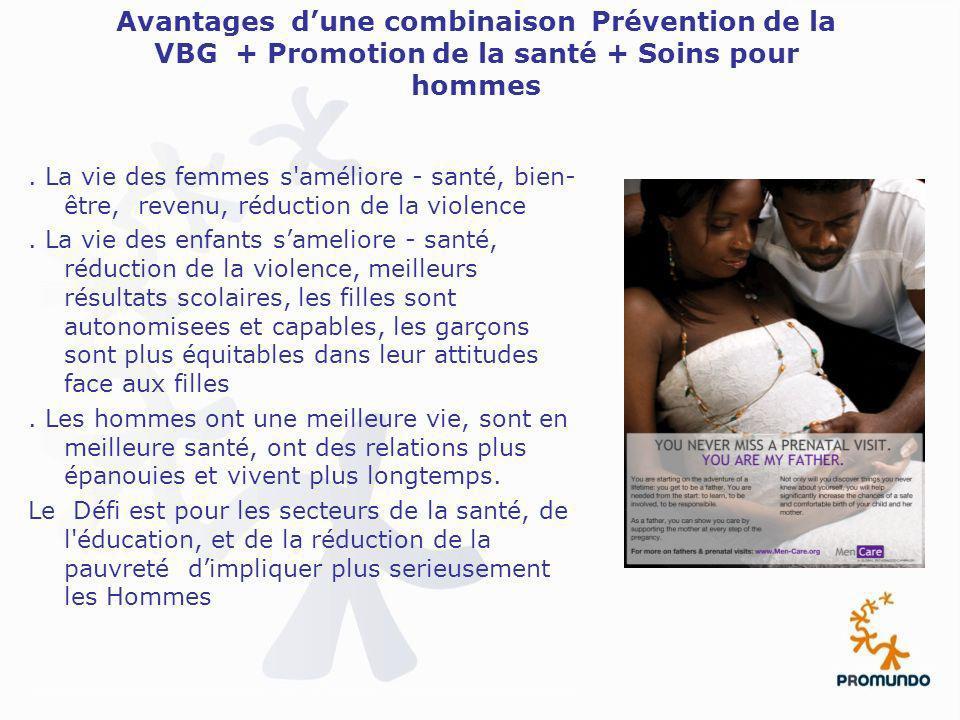 Avantages dune combinaison Prévention de la VBG + Promotion de la santé + Soins pour hommes. La vie des femmes s'améliore - santé, bien- être, revenu,