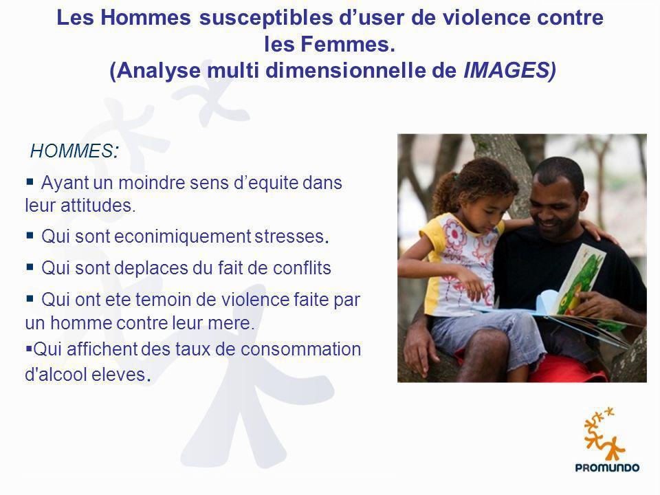 Les Hommes susceptibles duser de violence contre les Femmes. (Analyse multi dimensionnelle de IMAGES) HOMMES : Ayant un moindre sens dequite dans leur