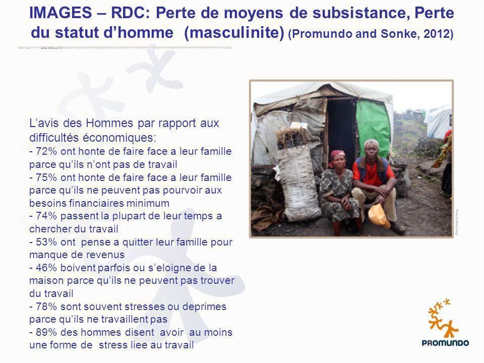 IMAGES – RDC: Perte de moyens de subsistance, Perte du statut dhomme (masculinite) (Promundo and Sonke, 2012) Lavis des Hommes par rapport aux difficu