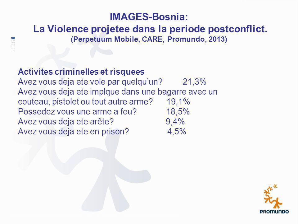 IMAGES-Bosnia: La Violence projetee dans la periode postconflict. (Perpetuum Mobile, CARE, Promundo, 2013) Activites criminelles et risquees Avez vous