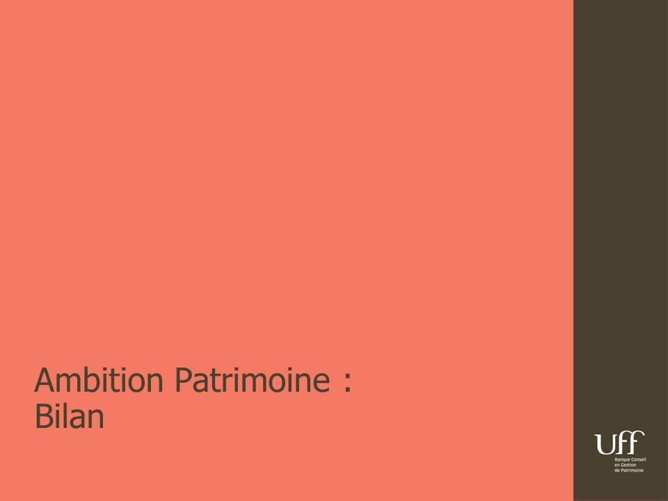 26/ 07/ 2012Résultats semestriels UFFB5 | Ambition Patrimoine : premiers résultats Un projet lancé dans une conjoncture difficile (début 2009) la focalisation de lentreprise sur la clientèle patrimoniale et entrepreneuriale a été accrue, pour plus de satisfaction et de fidélisation t aux de satisfaction client : 93% taux de clients conquis qualifiés : 94% les modes de fonctionnement et de rémunération du réseau ont été réformés afin dêtre en mesure de recruter et de conserver des CGP salariés de qualité Un niveau de recrutement élevé, un fort niveau de cooptation Un turnover<10%, la gamme de produits a été entièrement rénovée avec plus de 50 lancements de produits et fonds Un niveau dactivité satisfaisant