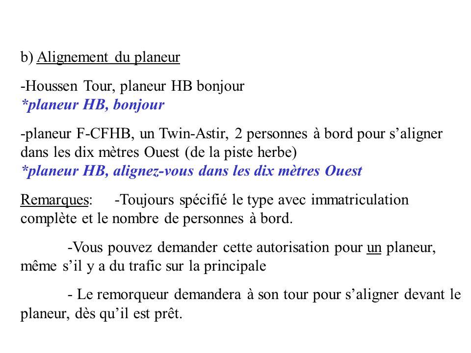 b) Alignement du planeur -Houssen Tour, planeur HB bonjour *planeur HB, bonjour -planeur F-CFHB, un Twin-Astir, 2 personnes à bord pour saligner dans