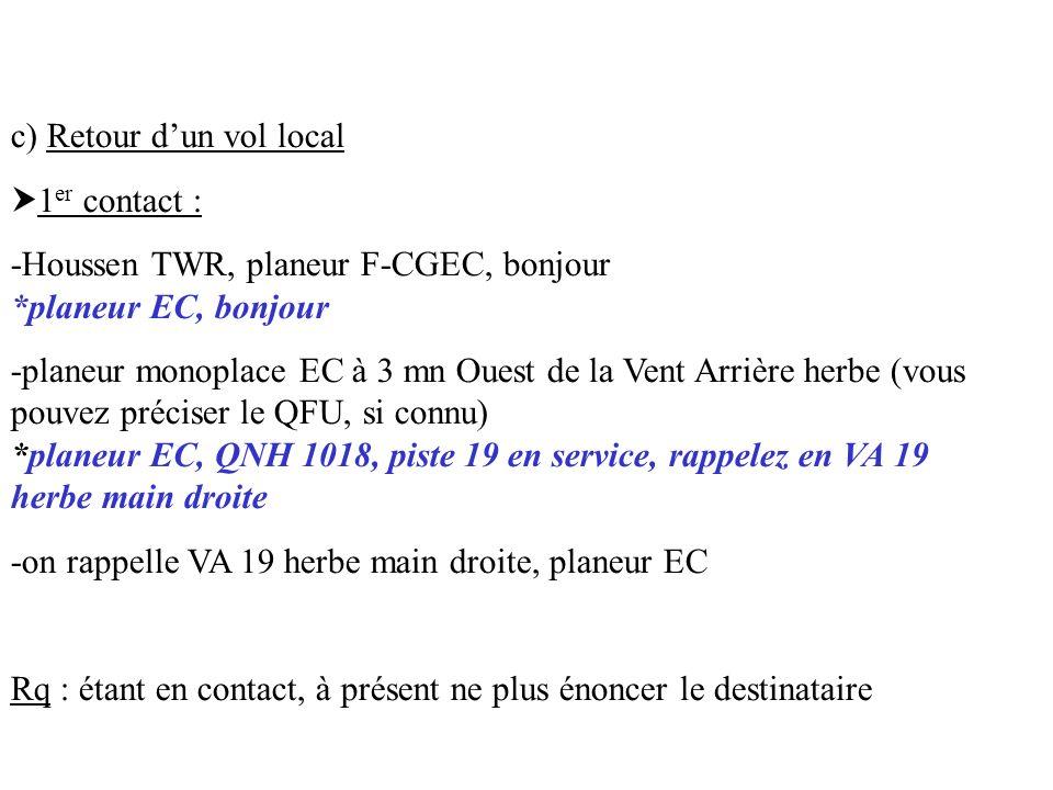 c) Retour dun vol local 1 er contact : -Houssen TWR, planeur F-CGEC, bonjour *planeur EC, bonjour -planeur monoplace EC à 3 mn Ouest de la Vent Arrièr