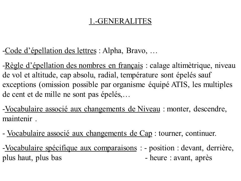 1.-GENERALITES -Code dépellation des lettres : Alpha, Bravo, … -Règle dépellation des nombres en français : calage altimètrique, niveau de vol et alti